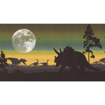 Prehistory Night Dinosaurs Pterodactyls Wallpaper Border Retro Design, Roll 15' x 6