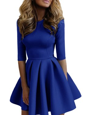 fb1fe3f98c69 Product Image Skater Dresses for Women Casual Short Mini Round Neck Above  Knee Evening Cocktail Party 3