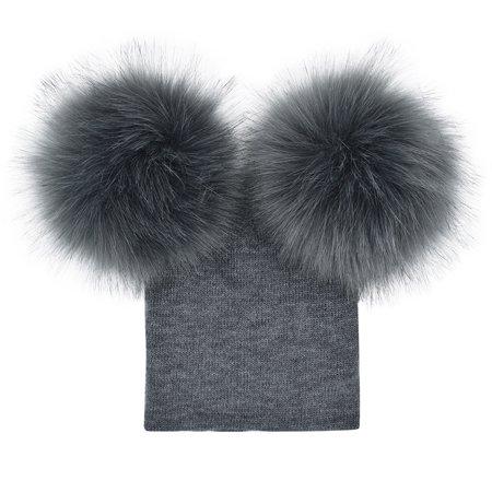 5013e853c74 HiCoup - HiCoup Infant Baby Girls Boys Crochet Knitted Cute Faux Fur Ball  Hat Warm Beanie Cap - Walmart.com