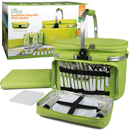 Foldable Insulated Picnic Basket, w Plates, Glasses & Flatware - Keeps Food Cold or Warm for hours - Full Sized Set Folds down to 5 Inches