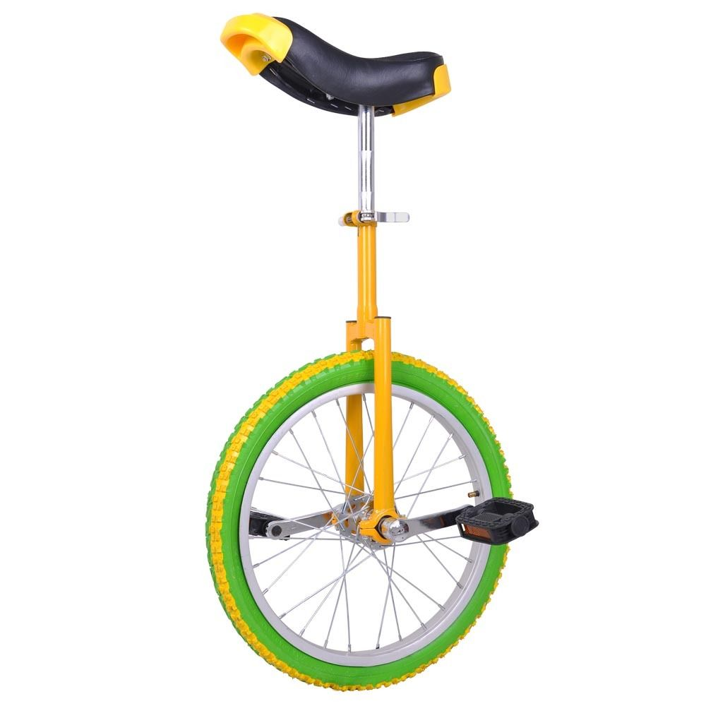 "GHP Yellow & Green Manganese Steel 18"" Wheel Skid-Proof Tire Aluminum Rim Unicycle"