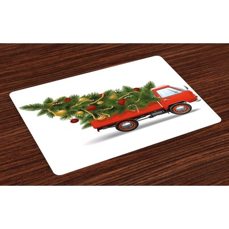 Fire Truck Placemat (Christmas Placemats Set of 4 Red Retro Style Farm Truck and Big Christmas Tree with Tinsel Balls Candy, Washable Fabric Place Mats for Dining Room Kitchen Table Decor,White Red Green,)
