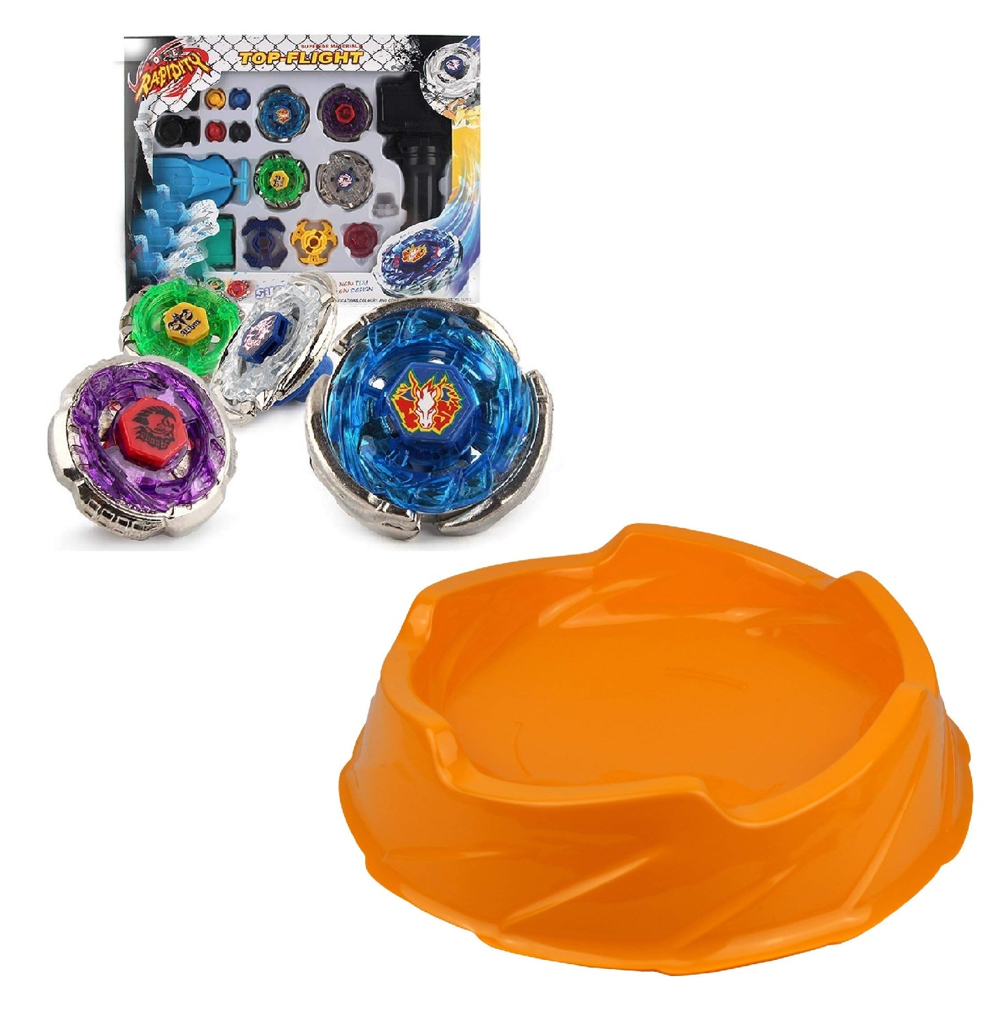 Beyblade Toy Set 4D Top Flight Rapidity Metal Fusion Fight String Launcher Grip & Beystadium Attack Arena Stadium