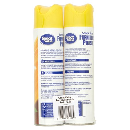 Great Value Lemon Scent Furniture Polish 9 7 Oz 2 Pk Best Surface Care Protection