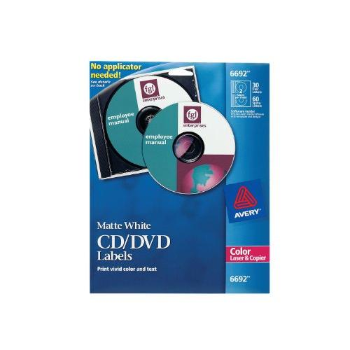 Avery Cd/dvd Label - 30 / Pack - Circle - 2/sheet - Laser, Inkjet - White (6692)