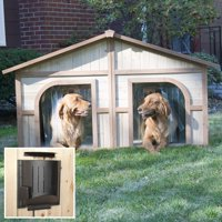 Merry Products Lighter Stain Duplex Dog House with Heater