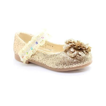 Little Girls Gold Glitter Lace Sequin Trim Flower Dress - Gold Flower Girl Shoes