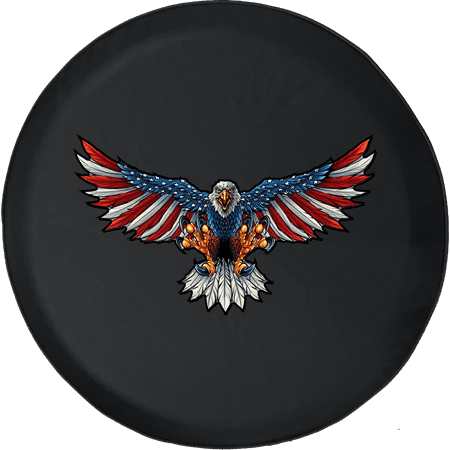 American Flage Bald Eagle Freedom USA Adventure Fun 4x4 Offroad Spare Tire  Cover fits Jeep RV & More 28 Inch