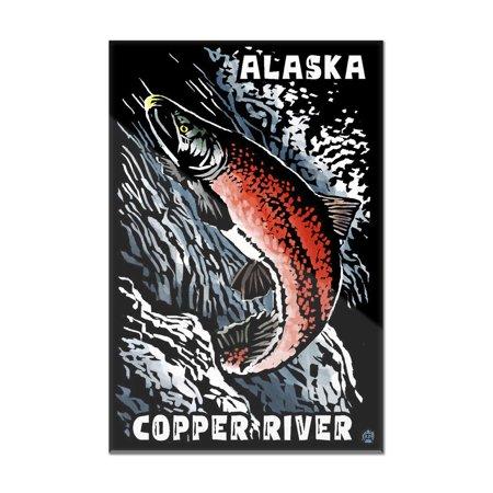 Alaska - Copper River - Scratchboard Sockeye Salmon - Lantern Press Artwork (8x12 Acrylic Wall Sign)
