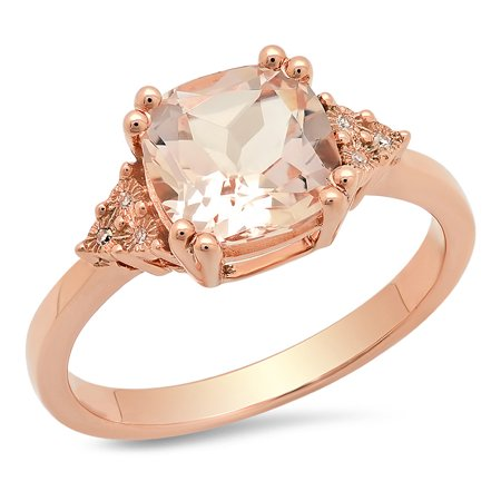 14k 2.5 Mm Diamond - Dazzlingrock Collection 14K 8 MM Cushion Morganite & Round White Diamond Ladies Engagement Ring, Rose Gold, Size 7