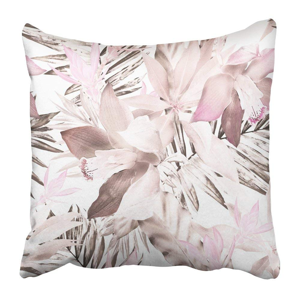 WOPOP Gray Abstract Tropical Exotic Leaves Flowers Herbs on White Pink Watercolor Floral Artistic Blossom Pillowcase Pillow Cover 20x20 inches