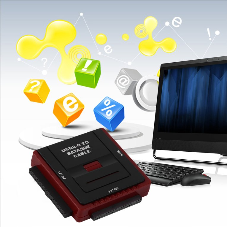 Square Multi Function USB 2.0 2.5 3.5 Inch SATA IDE CD-Rom HDD Dock Station by LESHP
