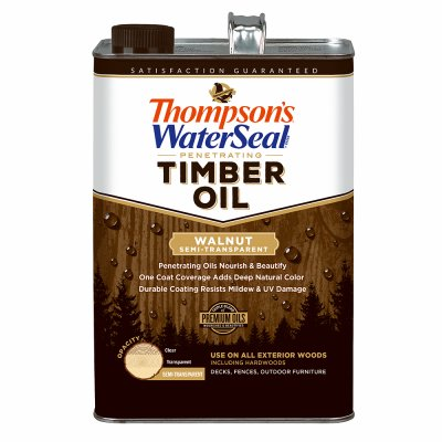 THOMPSONS WATERSEAL Penetrating Timber Oil, Exterior Wood Protector, Walnut, Semi-Transparent, 1-Gal.