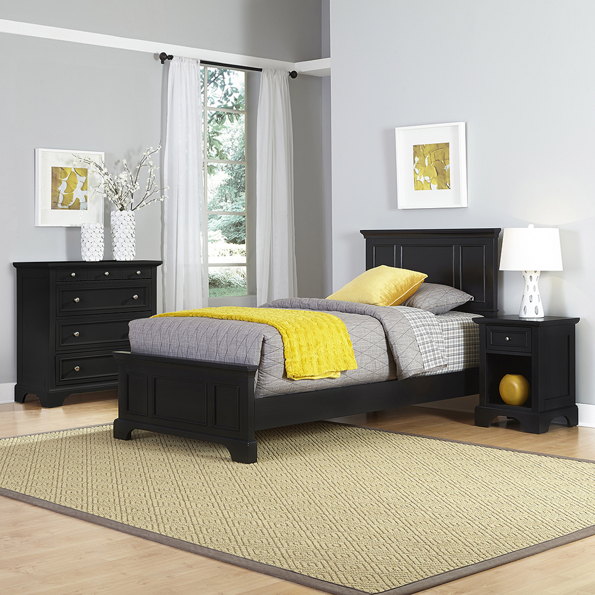 Home Styles Bedford Twin Bed, Night Stand and Chest