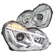 Spec-D Tuning For 2001-2007 Mercedes Benz W203 C-Class Led Strip Signal Clear Projector Headlights Pair (Left+Right) 2001 2002 2003 2004 2005 2006 2007