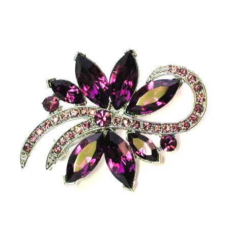 Gorgeous Crystal Floral Pin Brooch Bridesmaid Wedding Party Prom - Purple