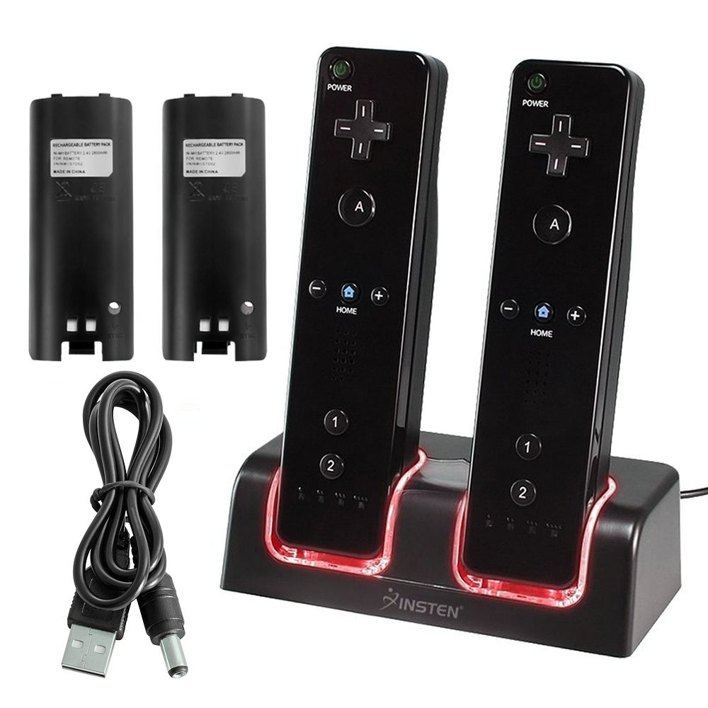 Nintendo Wii Docking Station, Wii Remote Dock by Insten Dual Remote Controller Docking Station Cradle with 2-pack Rechargeable Batteries For Nintendo Wii / Wii U - Black