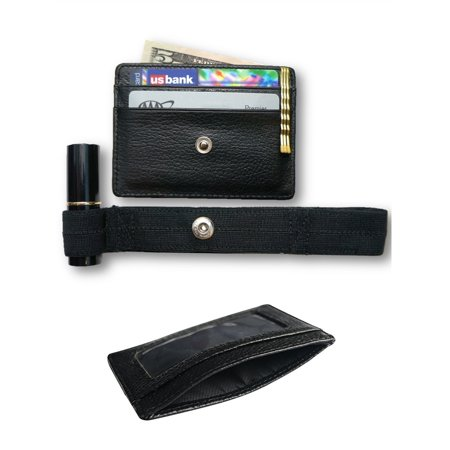 Travel Wallet- Hidden, Secure Slim Wallet, Genuine Pebble Grain Leather, Super Thin Wallet, Card & Money Holder With ID Window; Secret Wallet, Hands-Free Travel Wallet Pebble Grain Leather Money Clip