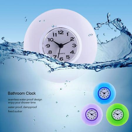 Lv. life Mini Cute Bathroom Kitchen Mirror Suction Wall Clock Shower Waterproof Quartz Clocks Decoration