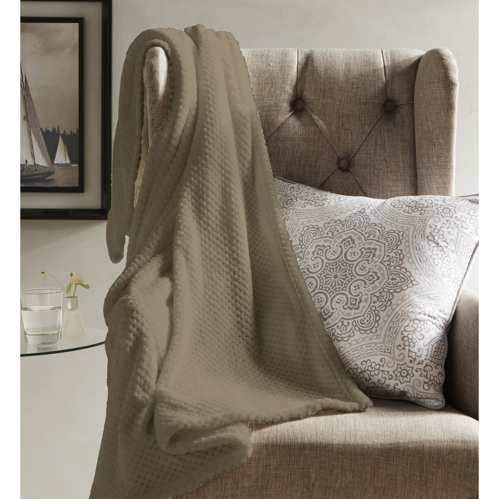 Kensie & Myrcella Fleece Sherpa Throw Blanket