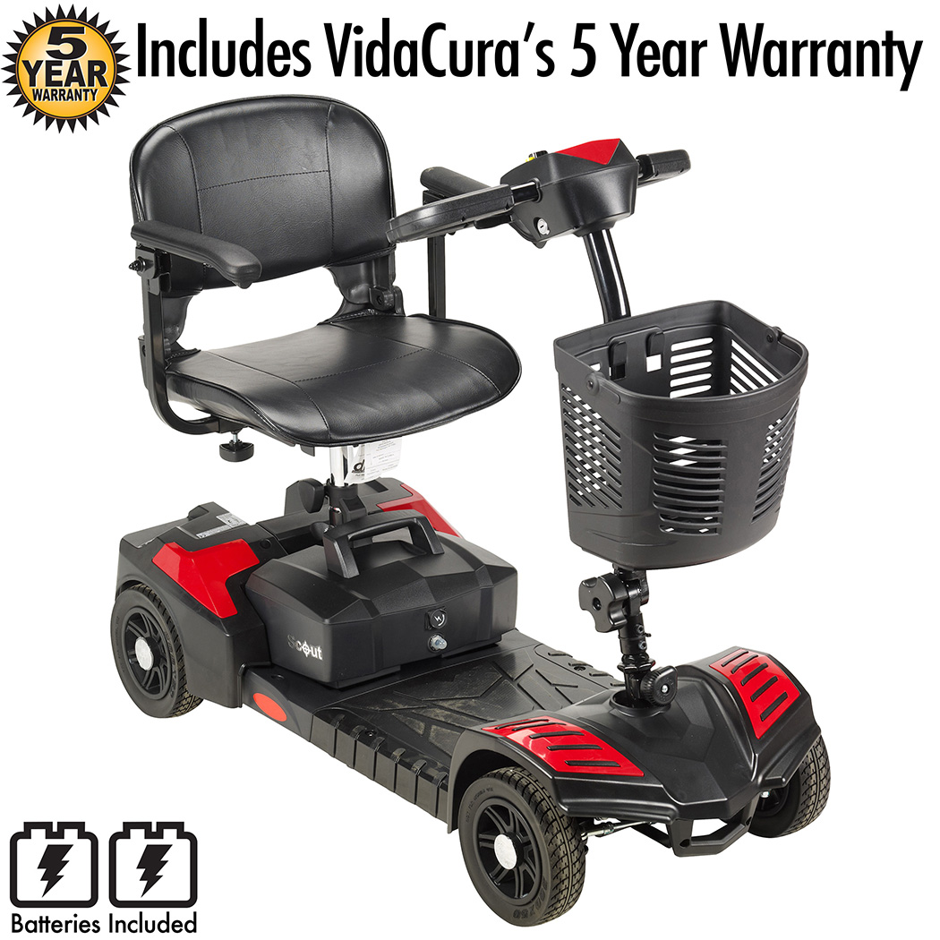 Drive Medical Scout 4 Mobility Scooter (20AH/15 mile range battery) Including Vidacura's Extended 5 Year Warranty