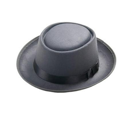 Fancyleo Unisex Women Men Felt Wide Brim Hat Woolen Pork Pie Flat Hat Vintage Gambler