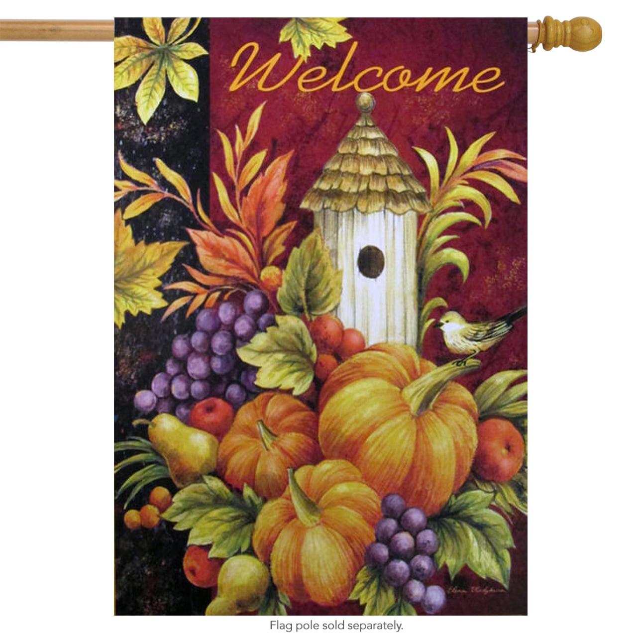 """Welcome Birdhouse House Flag Fall Autumn Harvest Pumpkin 28"""" x 40"""" by"""