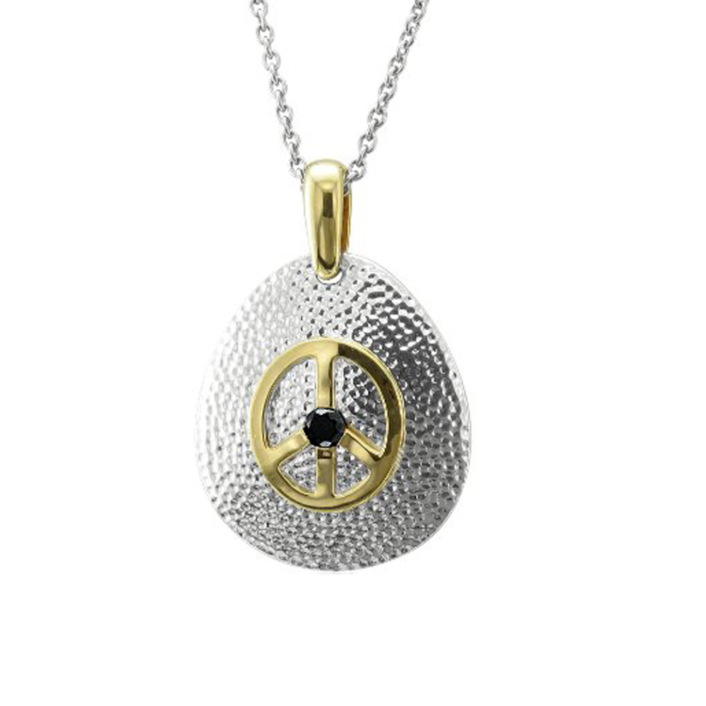 Diamond Delight Sterling Silver Peace Sign Diamond Pendan...