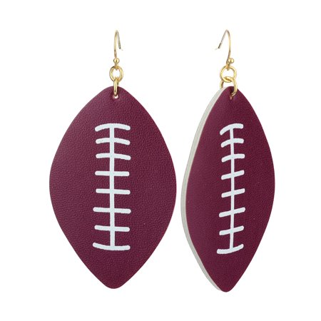 Stone Dangle Pierced Earrings (Women's Game Day Football Shaped Two Tone Faux Leather Dangle Pierced Earrings, Plum/White )