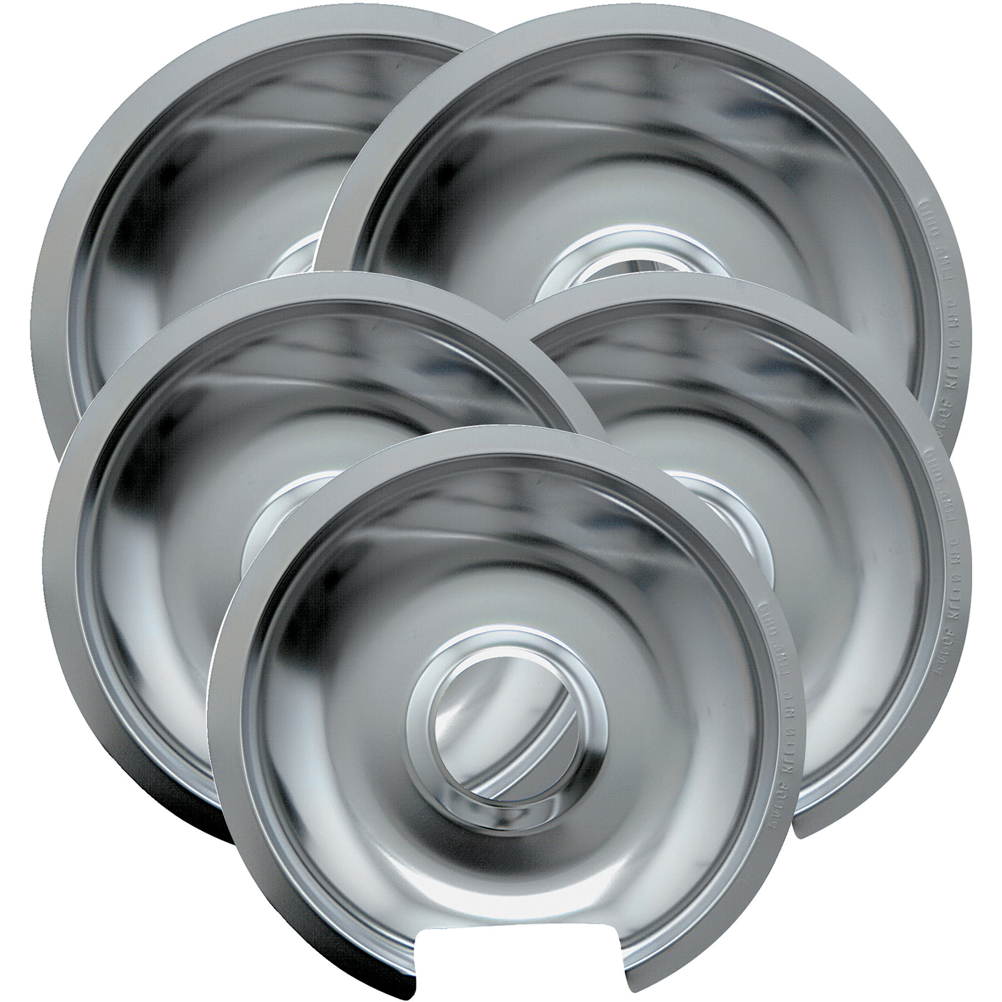 Range Kleen 5-Piece Drip Pan, Style D fits Hinged Electric Ranges GE/Hotpoint/Kenmore, Chrome