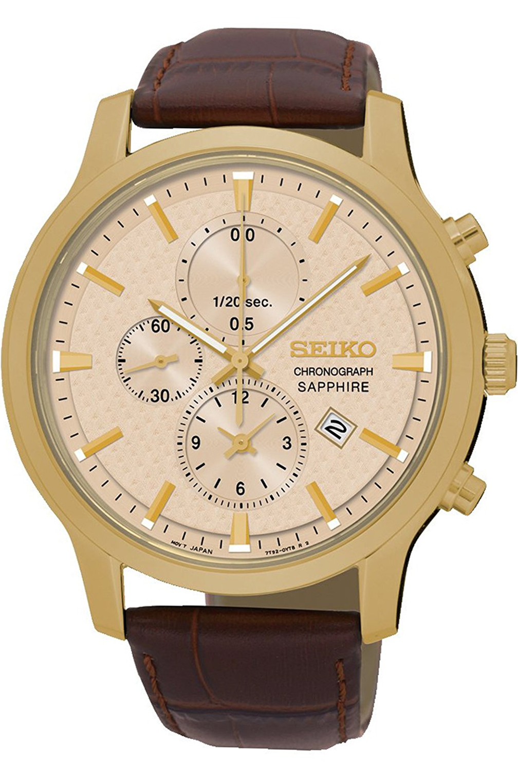 SEIKO SNDG70P1,Men's Chronograph,Stainless Steel Case,Clear Dial,Brown Leather,Sapphire Cystal,100m WR,SNDG70