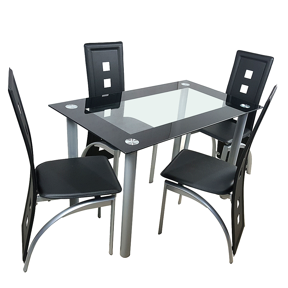 5 Pieces Dining Table Set Elegant, Small Black Glass Dining Table And Chairs
