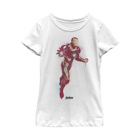Marvel Girls' Avengers: Endgame Iron Man Spray Paint T-Shirt (Iron Spray For Clothes)