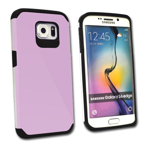 MightySkins Protective Bumper Case Cover for Samsung Galaxy S6 Edge hybrid tpu rubber plastic Glossy Purple