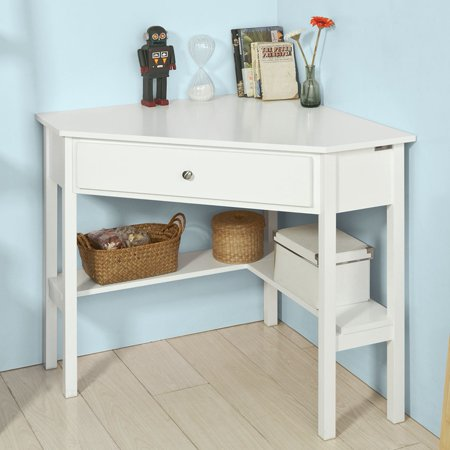 Haotian Fwt31 W White Corner Desk Triangle Table With Drawer And Shelf