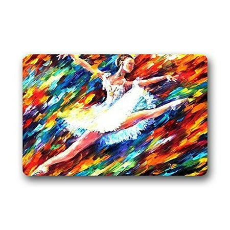WinHome Ballet Dance Doormat Floor Mats Rugs Outdoors/Indoor Doormat Size 23.6x15.7 (Wired Dance Mat)
