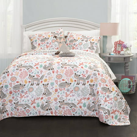 3pc Twin Pixie Fox Quilt Set with Fox Throw Pillow Gray/Pink - Lush Décor