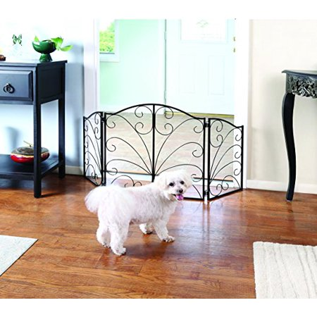 Indoor/Outdoor Arched Scroll Metal 3 Panel Pet Gate - Expands From 24' to