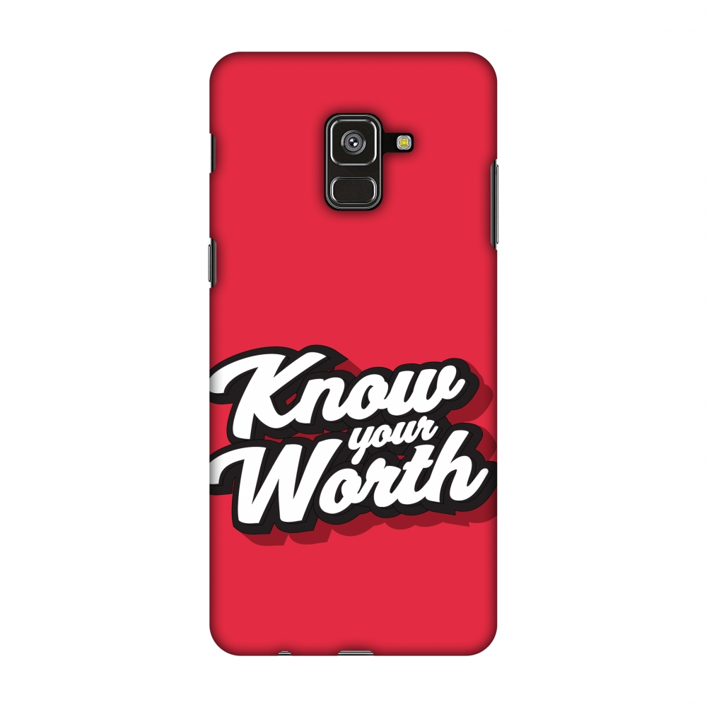 Samsung Galaxy A8 Plus 2018 Case - Know Your Worth, Hard Plastic Back Cover, Slim Profile Cute Printed Designer Snap on Case with Screen Cleaning Kit