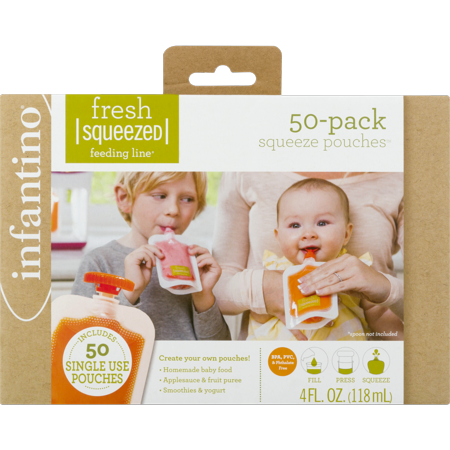 Infantino Fresh Squeezed Food Pouches, 4 oz, 50 pack (Baby Food Storage 4 Oz)
