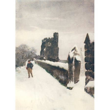 Louis Burleigh Bruhl Stretched Canvas Art - Essex 1909 Leigh-on-Sea, Winter's Mantle - Medium 18 x 24 inch Wall Art Decor Size.