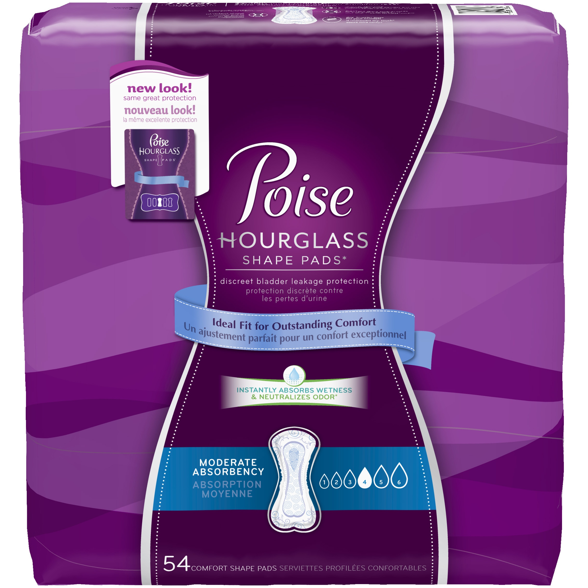 Poise Hourglass Shape Moderate Absorbency Regular Length Bladder Protection Pads, 54ct