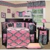 Sisi Baby Bedding - Pink Minky Zebra Crib Nursery Bedding Set 13 Pieces