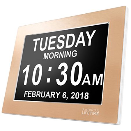 [Newest Version] American Lifetime Day Clock - Extra Large Impaired Vision Digital Clock with Battery Backup & 5 Alarm Options - Limited Edition Gold Color, Metal Frame