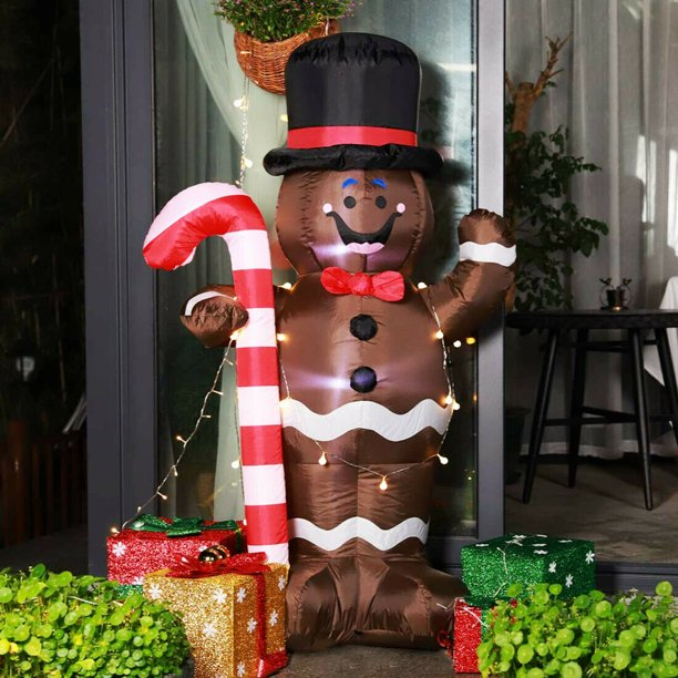 5ft Height Christmas Inflatable Led Lighted Gingerbread Man With Candy Cane Blow Up Outdoor Yard Decoration Walmart Com Walmart Com