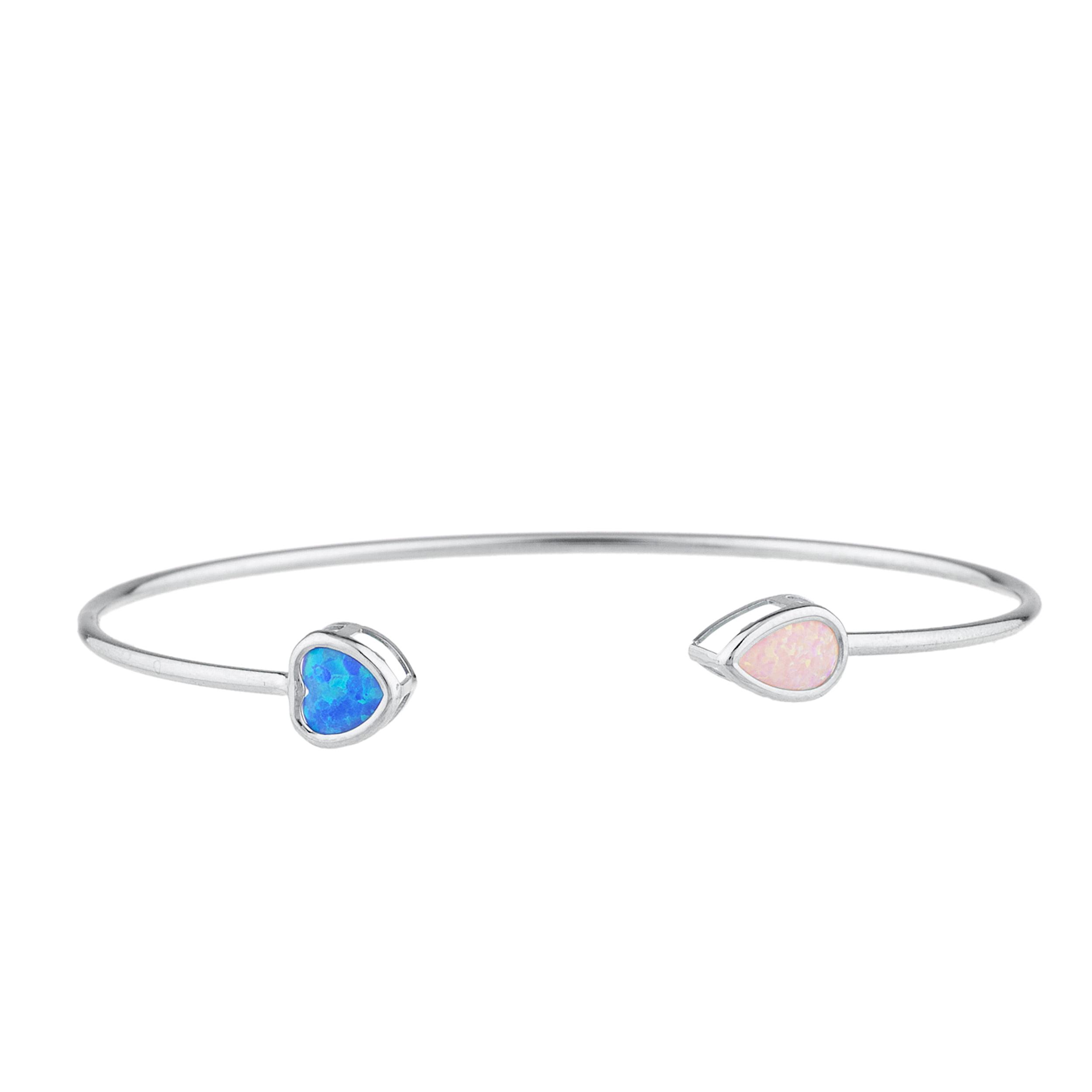 Blue Opal Heart & Pink Opal Pear Bezel Bangle Bracelet .925 Sterling Silver Rhodium Finish by Elizabeth Jewelry Inc