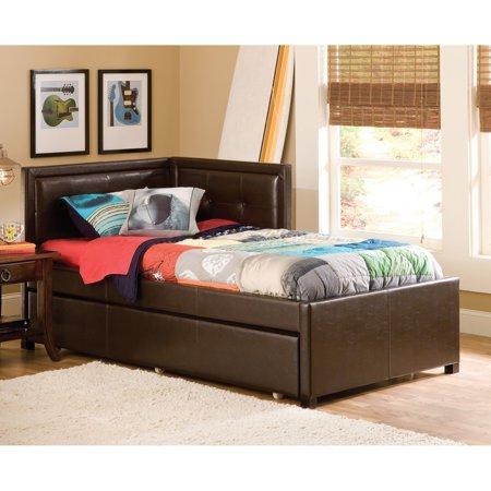 hillsdale frankfort upholstered corner daybed brown twin daybed only. Black Bedroom Furniture Sets. Home Design Ideas
