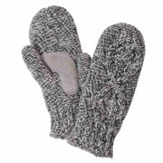 Isotoner Womens Gray Marled Cable Knit Mittens with Sherpasoft Lining