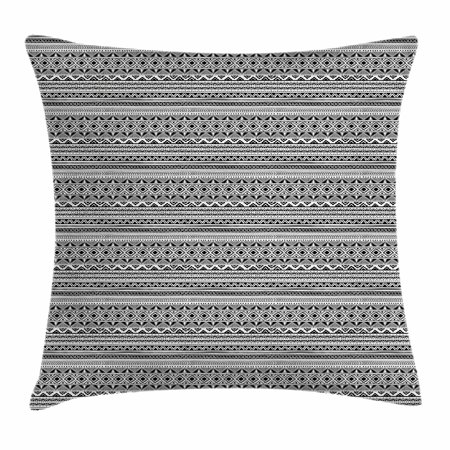 Black And White Borders (Ethnic Throw Pillow Cushion Cover, Black and White Geometric Ornament Hand Drawn Style Folk Native Peruvian Borders, Decorative Square Accent Pillow Case, 16 X 16 Inches, Black White, by)