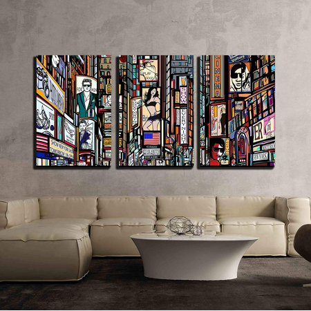 wall26 - 3 Piece Canvas Wall Art - Illustration of a Street in New York City - Modern Home Decor Stretched and Framed Ready to Hang - 24